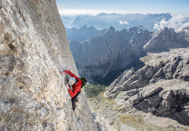 Hansjörg Auer climbing freesolo the Vinatzer-Messner route on the South Face of Marmolada, Italy.